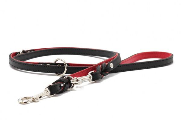 Lederleine Klassik Premium schwarz-rot